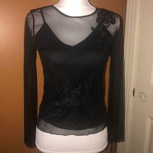 INTUTIONS - 2 PC BLACK SHEER TOP-SIZE SM-NWT